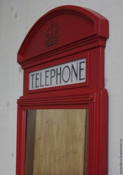 """Зеркала ручной работы. Зеркало настенное """"Лондонский телефон"""". Андрей Добросовестнов. Ярмарка Мастеров. Британия, винтаж, зеркало в раме"""