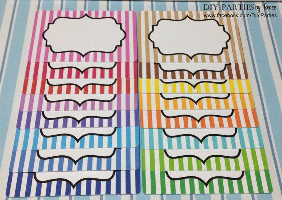 Candy buffet jar labels - rectangle - stripes. Find us on Facebook: www.facebook.com/DIYParties