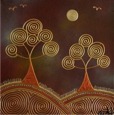 Golden Swirls - Spiral Trees