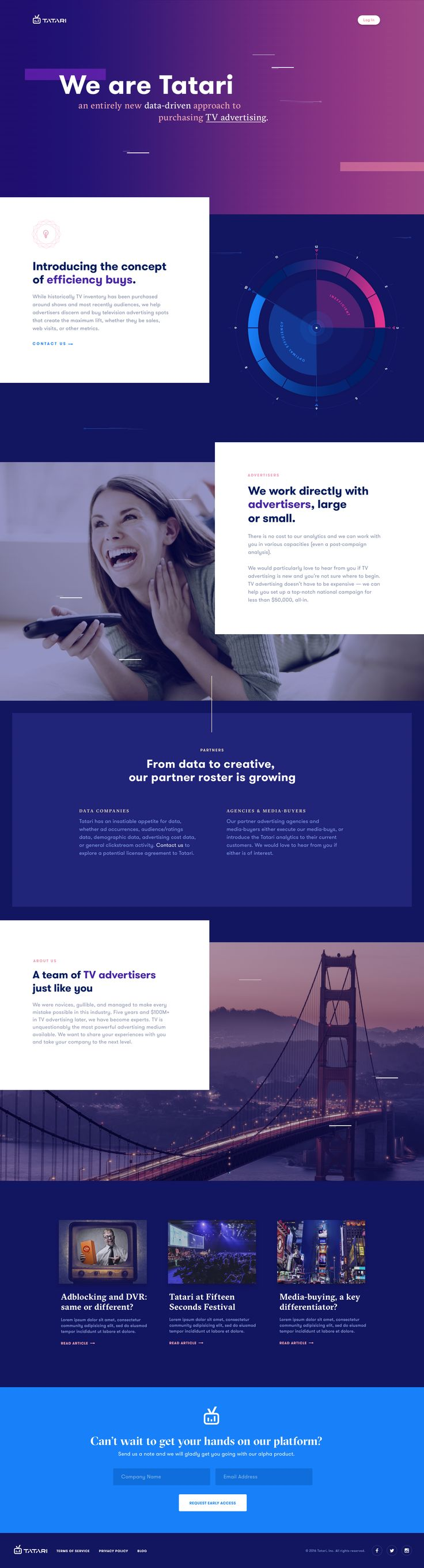 TV Advertising Platform • Ui design concept for a landing page by Mason Yarnell