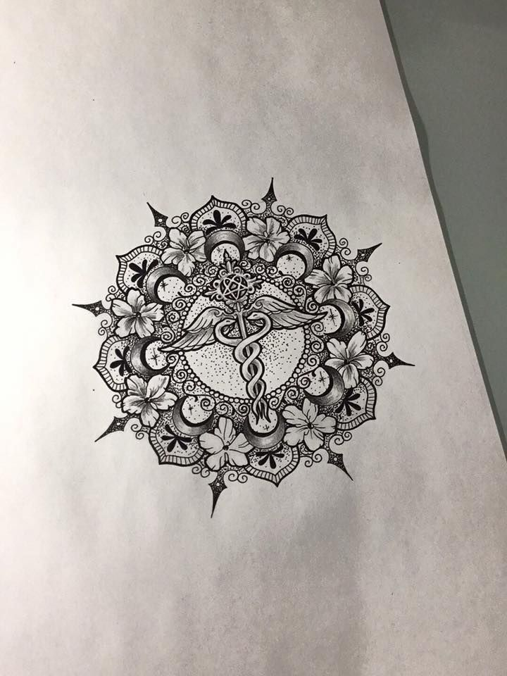 I love mandalas but they're so overdone. The caduceus is an incredible personalization! (Gypsy Tattoo