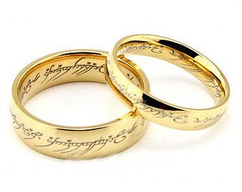 golden lord of the rings titanium rings wedding couple rings his and hers wedding ring sets promise rings matching rings - Lord Of The Rings Wedding Ring