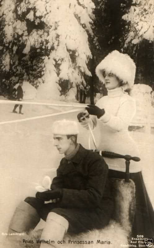 """Prince Wilhelm of Sweden and his wife,the former Grand Duchess Maria Pavlovna Romanova of Russia  (the Younger). """" AL"""""""