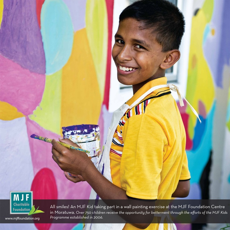 An MJF Kid taking part in a wall painting excercise at the MJF Foundation Centre in Moratuwa. Over 750 children each year receive the opportunity for betterment through the efforts of the MJF Kids Programme established in 2006.