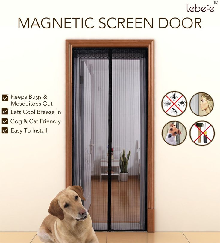 """Lebefe Updated Magnetic Screen Door Sew-in Magnets Full Frame Velcro Reinforced Black (Fits Doors Up To 36""""x 82""""MAX)"""
