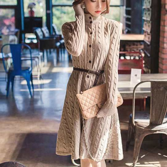 「リチャオ新品★人気高い★美しいデザイン★ベルト付き ケーブル編み ニット セーター ワンピ  全3色 jr-2tm-64トップス\ニット・セーター」の商品情報やレビューなど。