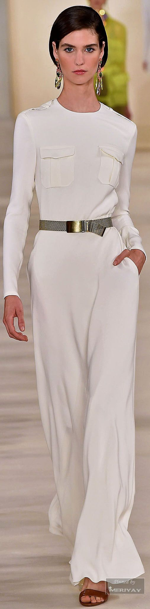 Ralph Lauren.Spring 2015. longsleeve white maxi dress modest | Follow Mode-sty for stylish #modest clothing www.mode-sty.com #sleevesplease #nolayering