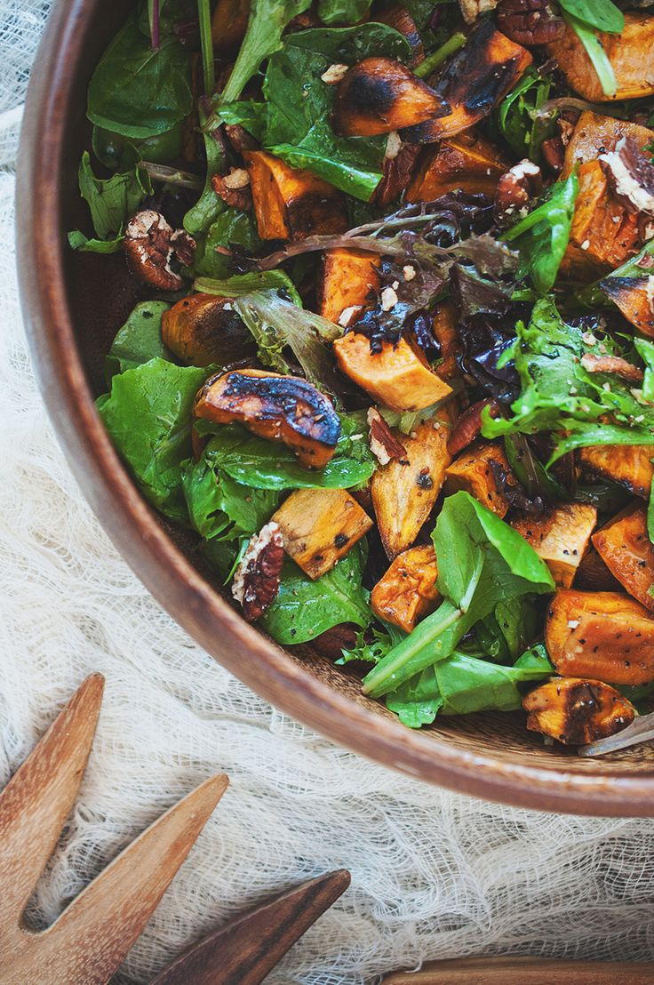Roasted Sweet Potato and Green Salad with Pecans and Balsamic Orange ...