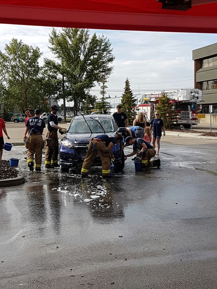 Edmonton Firefighters carwash at the 102.3 NowRadio studio. Over 3000.00 was…