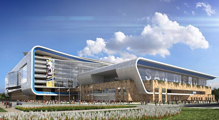 A rendering of a proposed downtown NFL stadium and convention center annex in San Diego