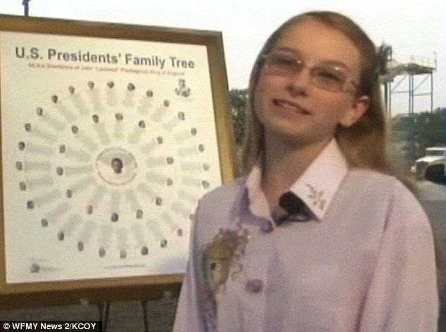 12-year-old girl created family tree linking 42 of 43 U.S. presidents to King John of England, who signed Magna Carta in 1215. Only eighth president, Martin Van Buren, was not related to John.