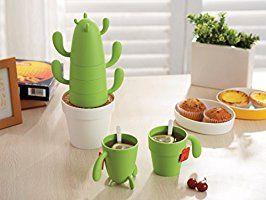 Estaly Stackable Cactus Plant Mugs Set for Coffee or Tea. Cute Southwestern Decor