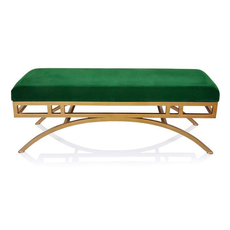 Horizon Boston Emerald Velvet Ottoman/Bench with Antique-goldtone Frame - Free Shipping Today - Overstock.com - 19655377 - Mobile