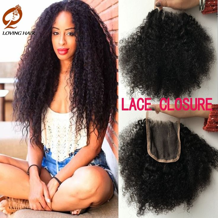(33.79$)  Know more  - Rosa Hair Products Brazilian Human Hair Afro Kinky Curly Body Wave Lace Closure Virgin Hair Deep Curly 4*4 Free Part Extensiones