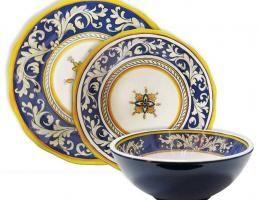 12PC Blue Malaga Melamine Dinnerware Set Service for 4