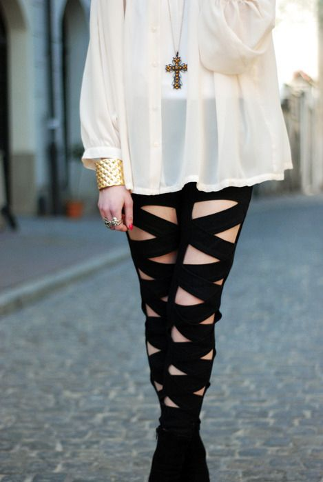 Leggings. They are flashy while modest. The cross and poufy shirt seems like something out of seinfeld.
