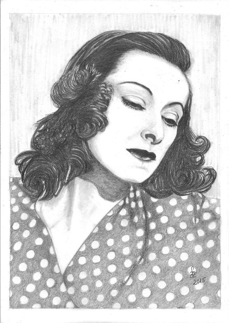 Pencil drawing portrait Muráti Lili by Erika Székesvári  https://www.facebook.com/ercziart/