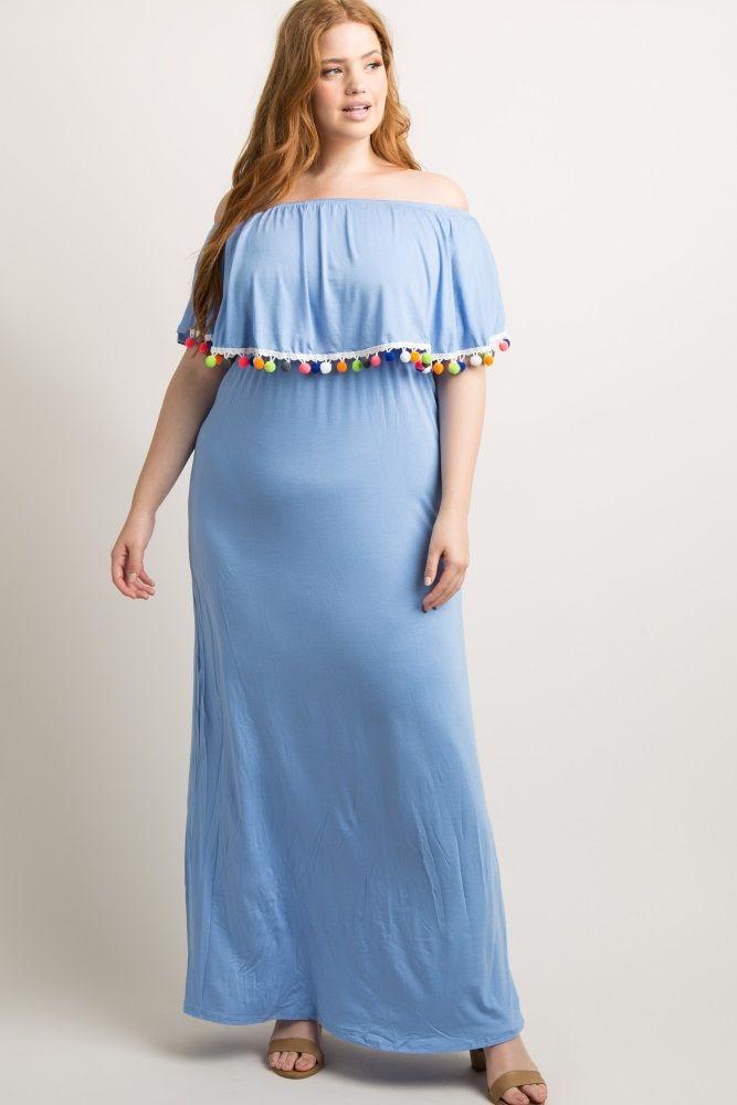 321d6508f76fd Solid off shoulder plus size maxi dress. Pom pom tassel trim. Short  sleeves. Cinched at neckline and under bust.