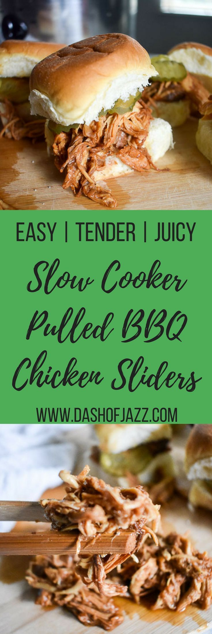 These slow cooker pulled BBQ chicken sliders are as easy as they are tender, juicy, and delicious. Make this set-it-and-forget-it recipe for your next cookout, tailgate, or dinner tonight! Recipe by Dash of Jazz via @dashofjazzblog