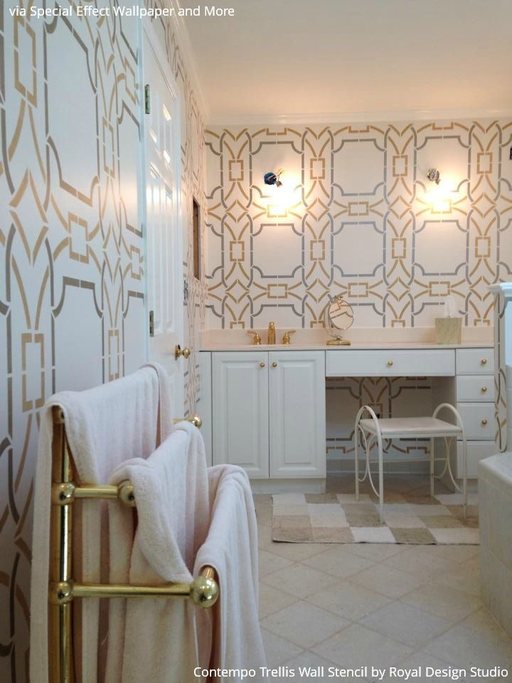 10 Bathroom Makeover Ideas Using Wall Stencils From Royal Design Studio