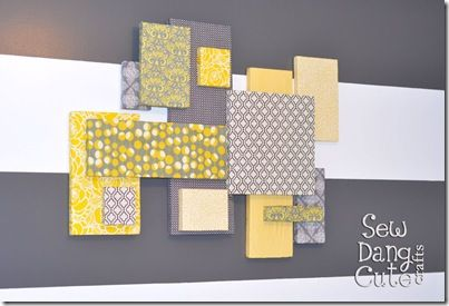 Grey and Yellow! Matching easy wall art. Great tutorials on this site. Love this for the baby's wall art!!! Maybe with her name in a block!!! Love, Love, Love!