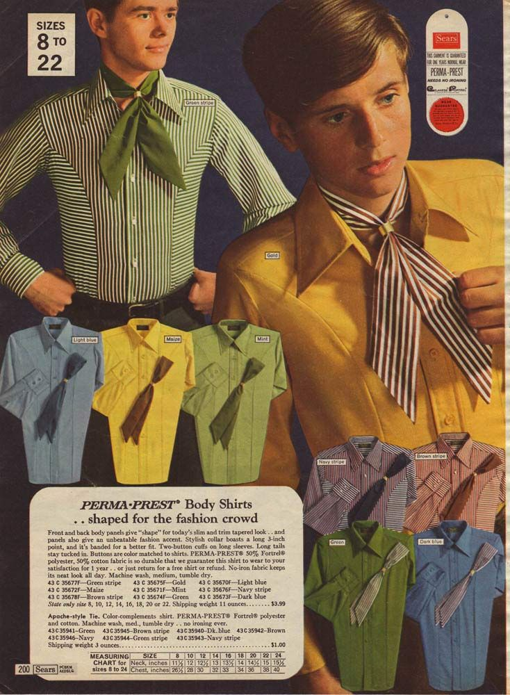 Boys' Striped Shirts from a 1969 catalog.The late 60s brought a whole new range of styles for men. In 1969 seeing a man wear a scarf was commonplace