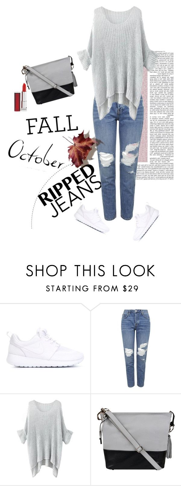 """""""Ripped jeans"""" by melisa-hasic ❤ liked on Polyvore featuring NIKE, Topshop, Wilsons Leather, Maybelline and rippedjeans"""
