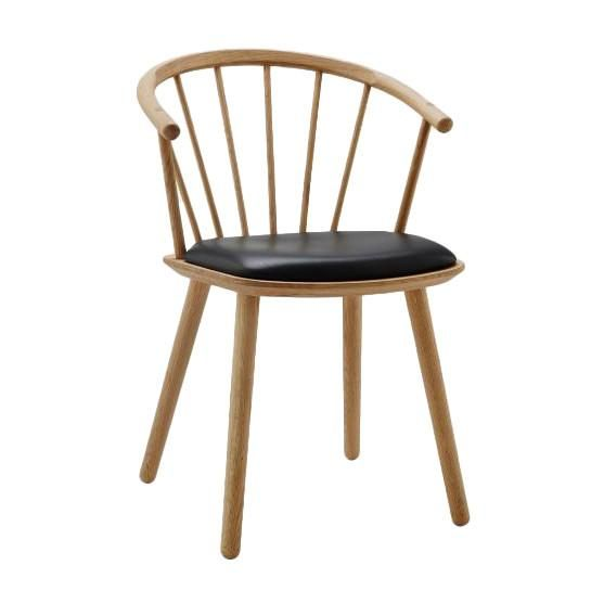 Sleek Low Back Dining Chair - Leather Seat