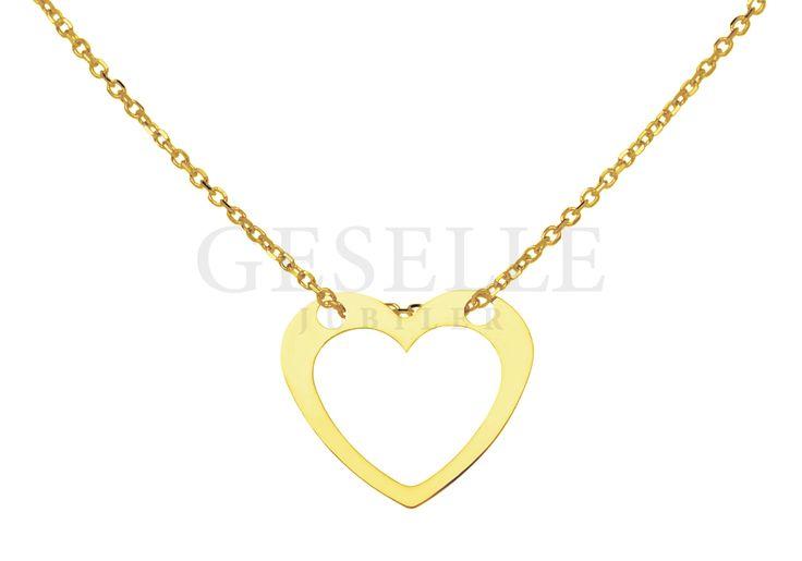 Elegancka złota celebrytka z serduszkiem - naszyjnik gwiazd - idealny pomysł na prezent! | ZŁOTO \ Żółte złoto \ Komplety NA PREZENT \ Pod choinkę od GESELLE Jubiler