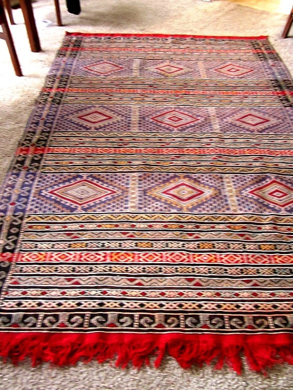 Turkish Kilim Rug that came from an estate -- 91 inches long and 62 inches wide and is most likely from the 70s