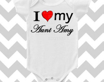 I Love My Aunt CUSTOMIZE NAME Heart Baby Bodysuit by MackiejoandCo