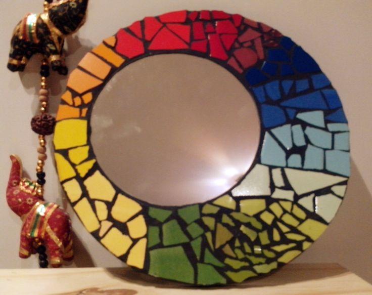 Espejo redondo ceramica mosaiquismo 299 en https for Mosaicos para espejos