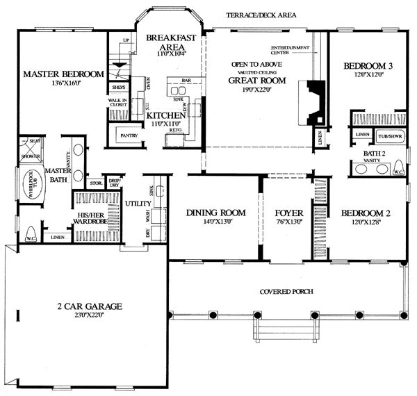 First floor plan of cape cod colonial cottage country for Southern colonial floor plans