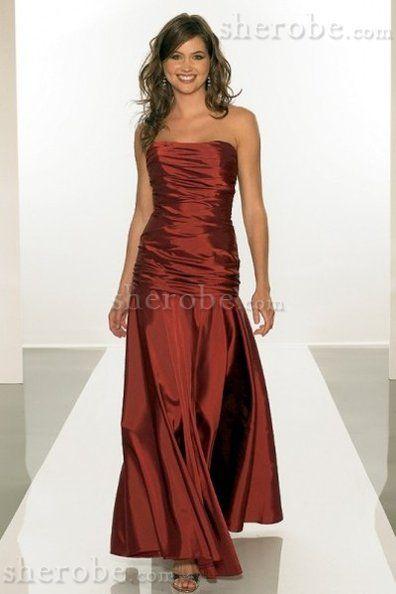 Niedrige Taille Taft Reißverschluss Langes Abendkleid ohne Träger mit Falte Mieder - Bild 1