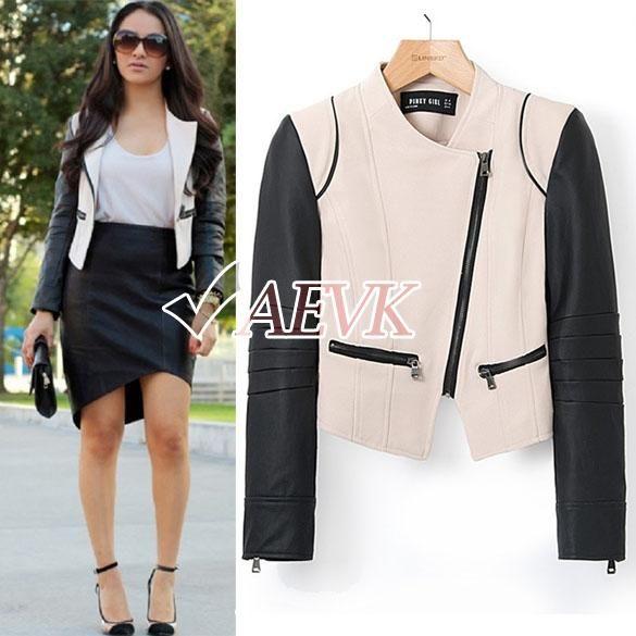 Aliexpress.comの から の中のスーパーディール2014年ファッションブランドの女性のコートのカーキ色のオートバイクール長袖ショートjacket#10sv006067コントラストレザーpu