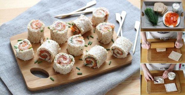 Mini rolinhos de salmão e queijo