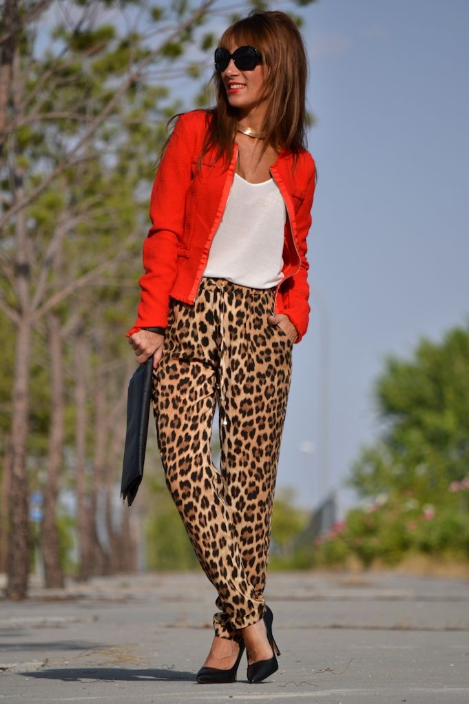 Red + panther print