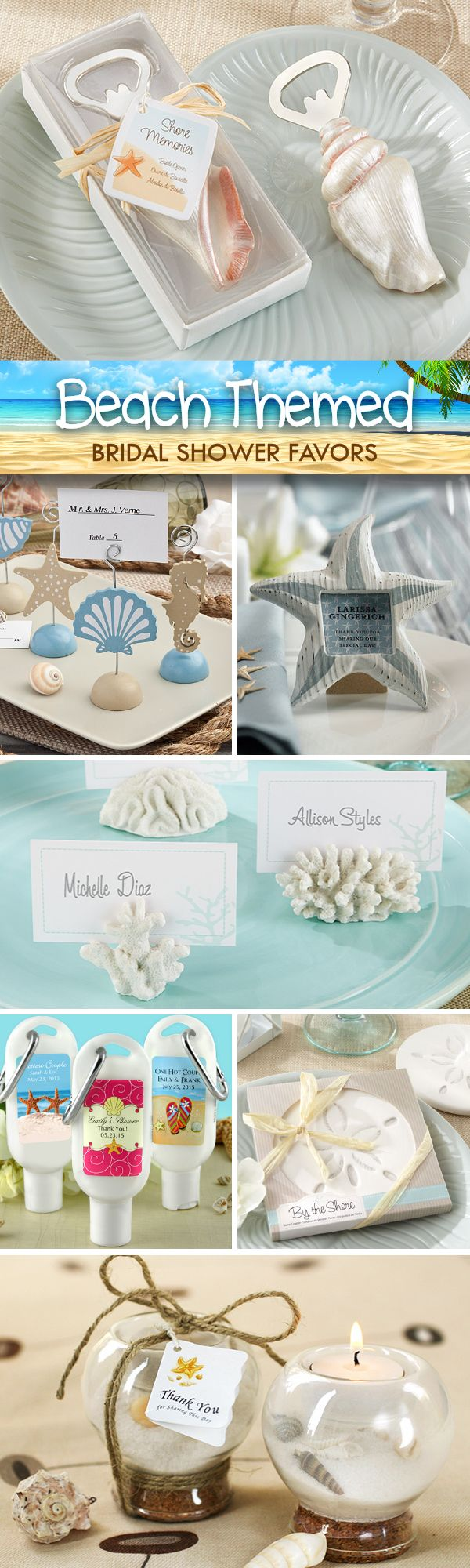 Looking for little thank you gifts your guests will love?  Check out these beach themed bridal shower favors that are sure to impress....