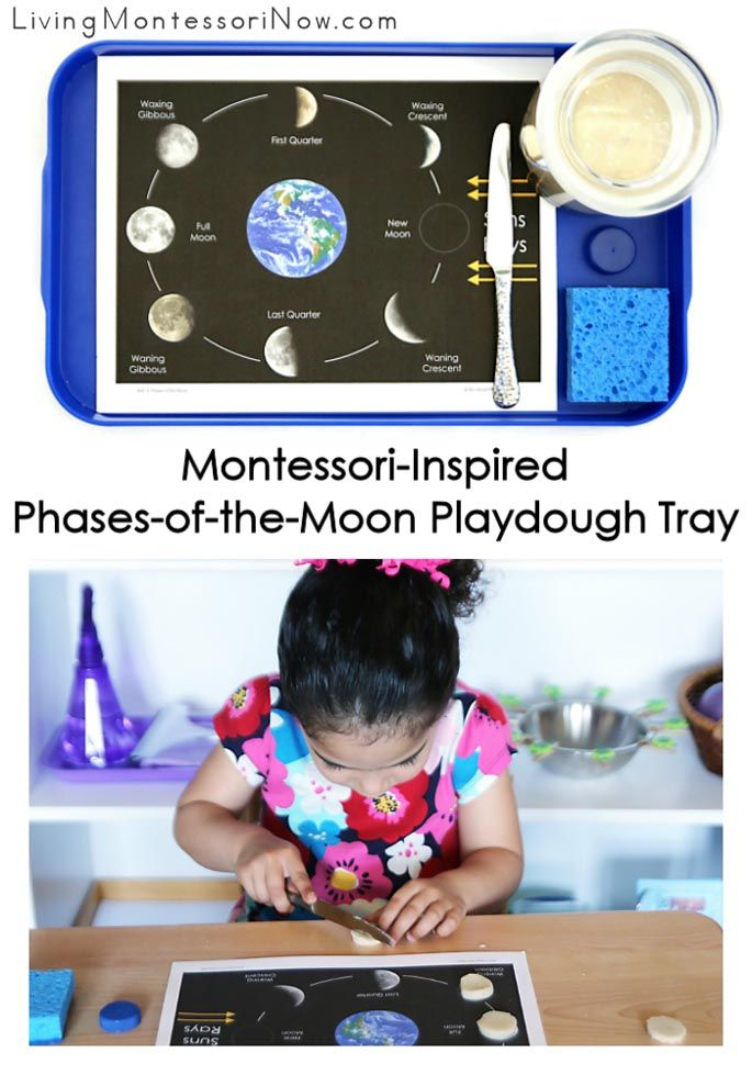 This Montessori-inspired phases-of-the-moon playdough tray is easy to prepare and works well at home or in the classroom; perfect or a moon-, solar system-, or astronomy unit.