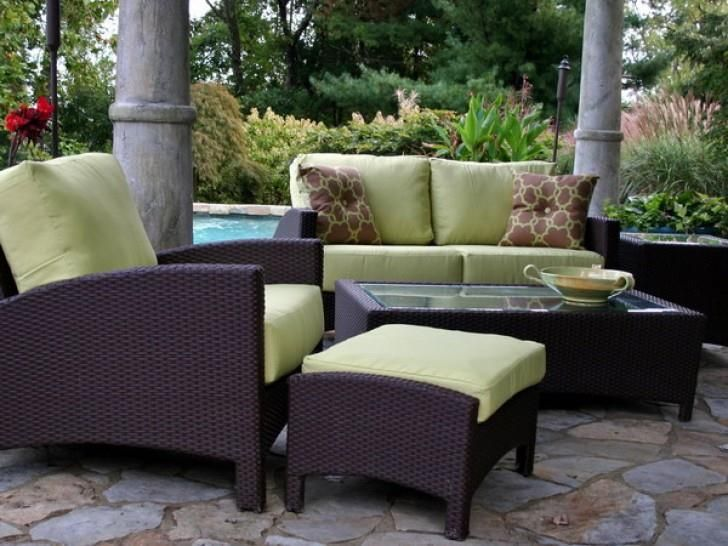 Outdoor Green Conventional Varnished Wooden Conversation Set With Brown  Pillow Also Bowl And Cheap Patio Furniture