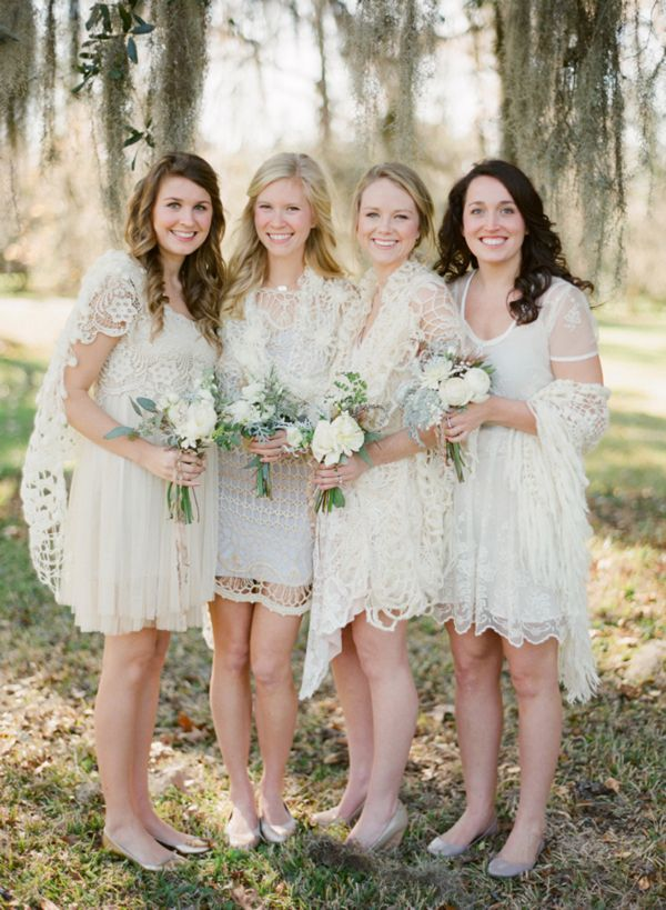 I love these dresses.: White Bridesmaid, Bride Maids, Lace Shawl, Shorts Wedding Dresses, White Lace, Bridemaid, Bridesmaid Gowns, Lace Dresses, Lace Bridesmaid Dresses