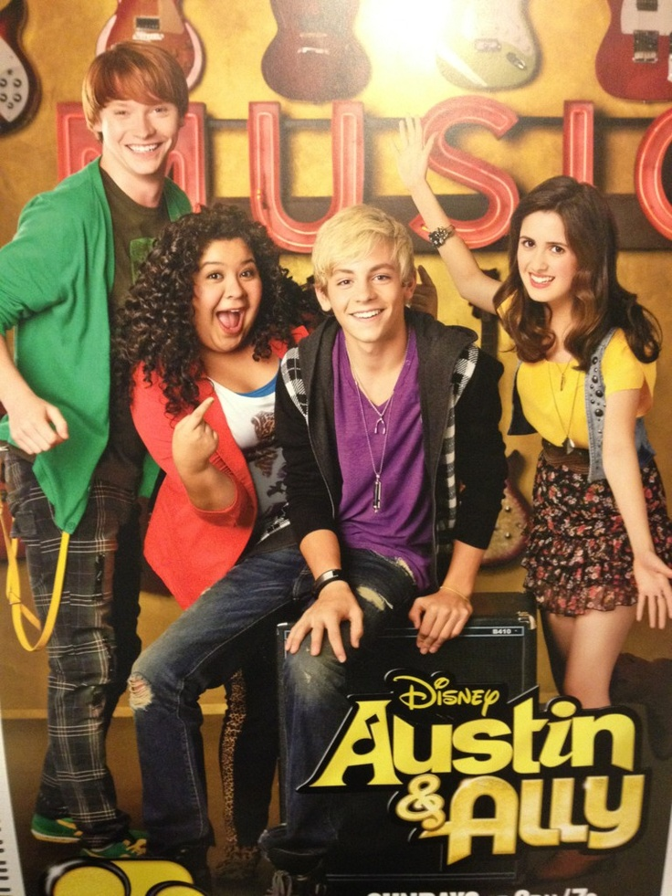 Austin & Ally is a new Disney Channel show that i automatically LOVED!!!!!!!!!!! Austin ( blond ) is a total cutie and a slightly pompous kid who loves being on stage ( kinda like me ;) ) and Ally ( far right brunette ) is a funny, shy,talented song writer