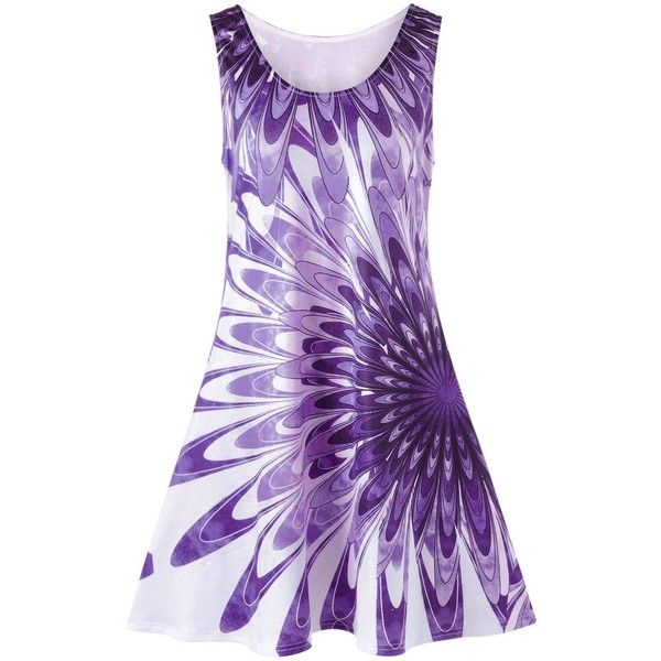 Plus Size Floral Sleeveless Mini Tank Dress Purple 5xl ($16) ❤ liked on Polyvore featuring dresses, plus size tank dress, womens plus dresses, mini dress, plus size dresses and tank top dress