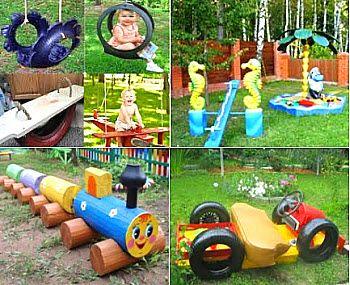 Детская площадка из подручных материалов - песочница и качели