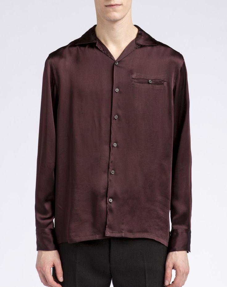 Lanvin, Shirt jacket in burgundy fluid technical satin