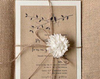 Custom listing (100) Birds In Love Invitation, Eco Recycling Invitations, Burlap  Wedding Invitations , Rustic Wedding invitation