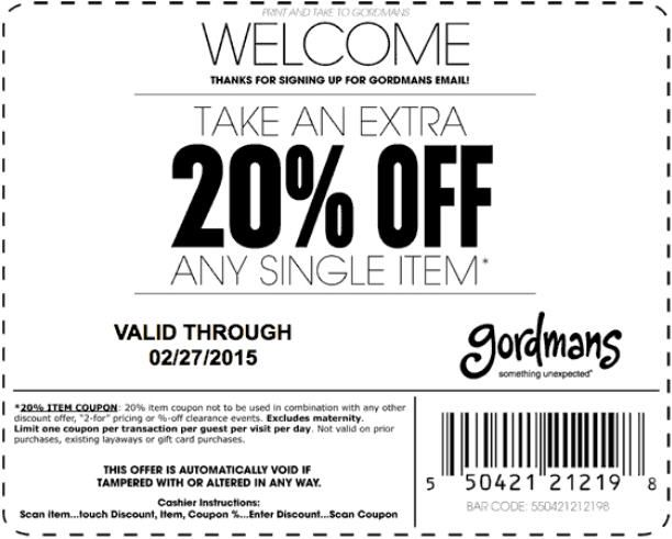 In-store & online : Take an Extra 20% #Off any single item.  Store : #Gordmans Scope: Entire Store Coupon code : 5504 2121 2198 Ends On: 02/27/15  Get more deals : http://www.geoqpons.com/printable-coupons Get our Android mobile App: https://play.google.com/store/apps/details?id=com.mm.views Get our iOS mobile App: https://itunes.apple.com/us/app/geoqpons-local-coupons-discounts/id397729759?mt=8