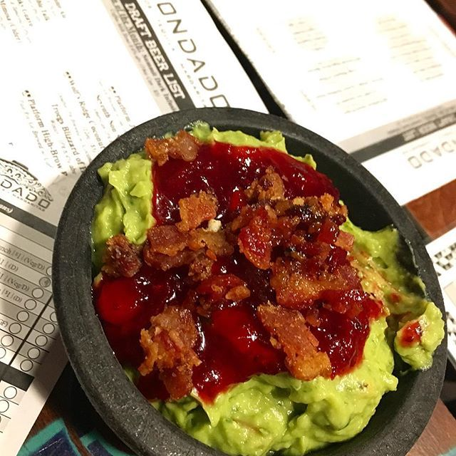 This is the stuff lunchtime dreams are made of ~ @condadotacos guacamole of the month topped with candied bacon and cranberries. 🌮 🌮 🌮 🌮 🌮 #condado #columbusohio #ohio #columbus #asseenincolumbus #cbus #guacamole #guacamoledip #food #yummy #avocado #foodporn #mexican #mexicanfood #tacos #dinner #instafood #nachos #delicious #lunch #salsa #tortillachips #yum #614 #cbusfoodscene #eat614 #topcolumbusrestaurants #foodie #bacon
