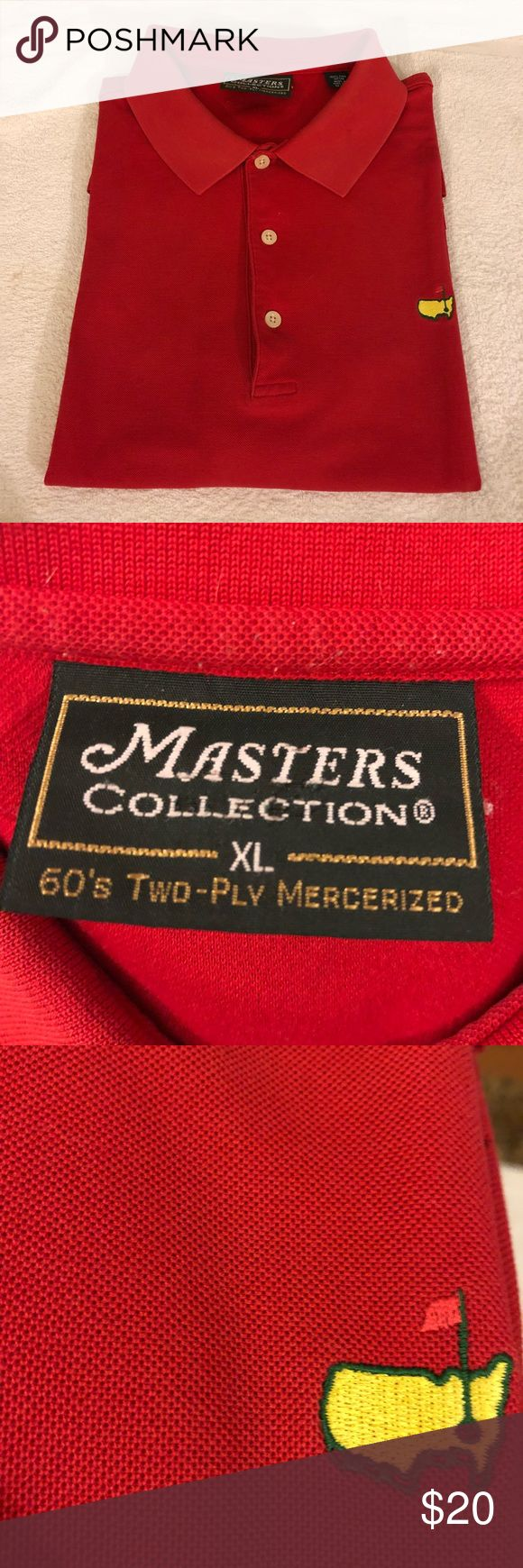 Masters Collection Solid Red Golf Polo Shirt XL Masters Collection Solid Red Golf Augusta Nationals Short Sleeve Polo Shirt size XL! Great condition! Please make reasonable offers and bundle! Ask questions! :) Masters Shirts Polos
