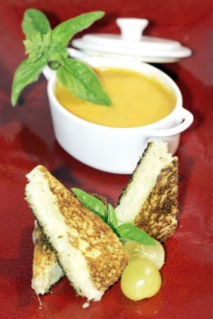 Chilled Yellow Heirloom Tomato Soup With Smoked Mozzarella Grilled ...